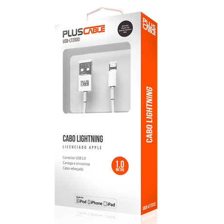 Cabo De Dados Lightning Iphone 5/6/7/ 1m Usb-lt2000wh Pluscable