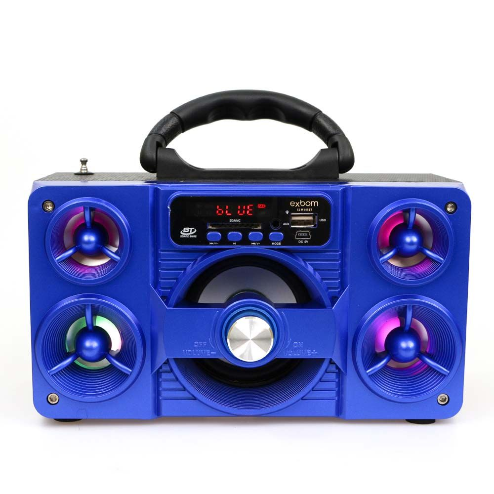 Caixa De Som Bluetooth Radio / Sd / Usb 5w Super Bass Azul Exbom
