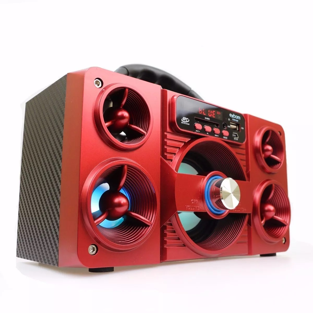 Caixa De Som Bluetooth Radio / Sd / Usb 5w Super Bass Vemelho Exbom