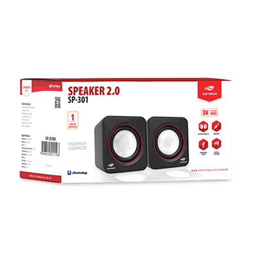 Caixa De Som Usb 3w Speaker Preto Sp-301bk C3tech