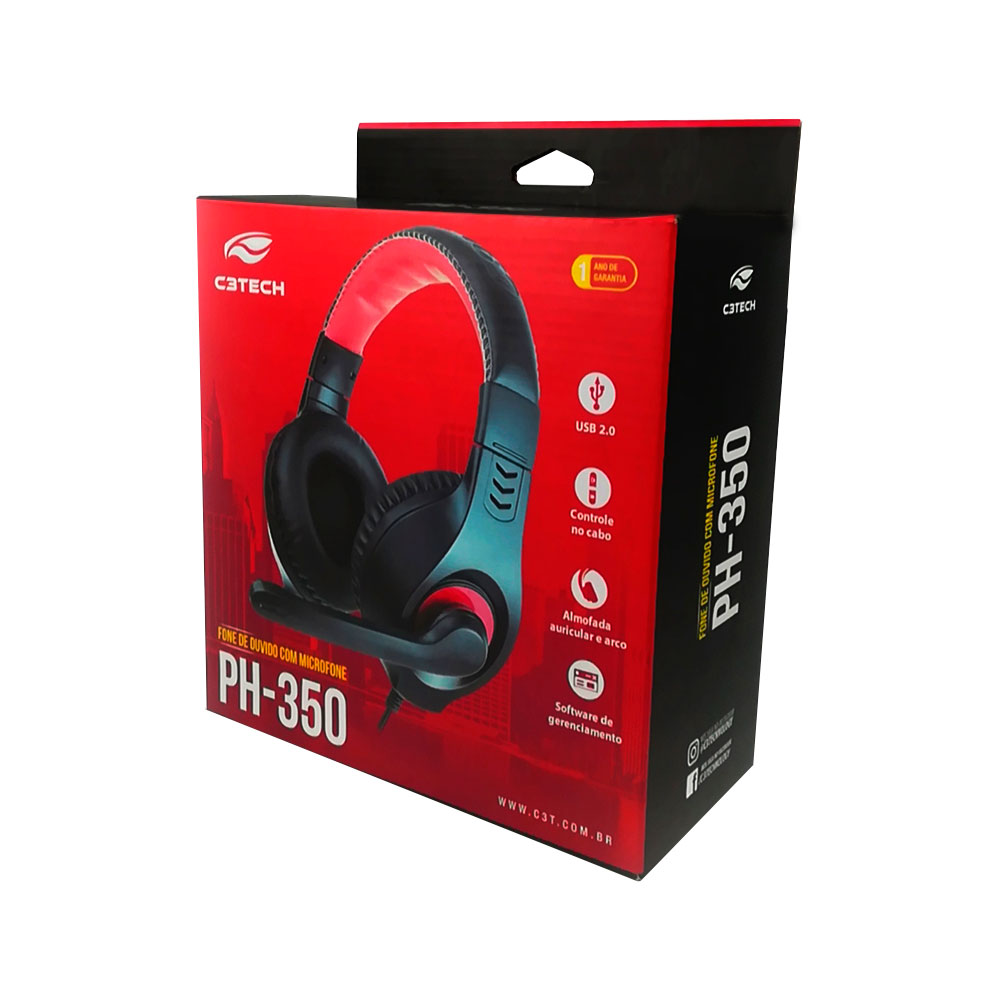 Fone Headset Gamer Usb Ph-350bk Preto/verm C3tech