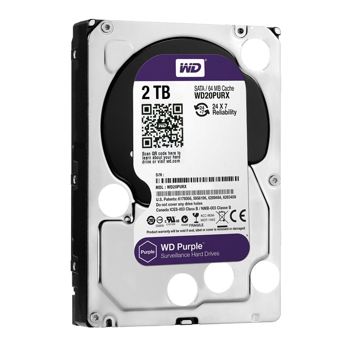 Hd Sata Iii 2000gb 2tb 5400 3.5 Wd Purple Surveillance Wd20purz 64mb