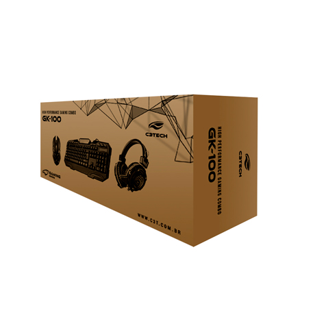 Kit Teclado/mouse/headset Gamer Gk-100bk
