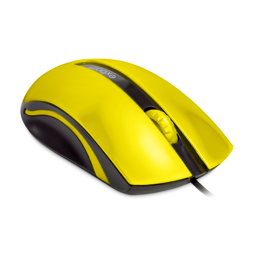 Mouse Usb 1000dpi Optical Amarelo Exbom Ms-50