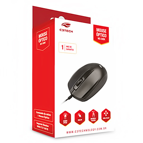 Mouse Usb 1000dpi Optical Preto Ms-30bk C3tech