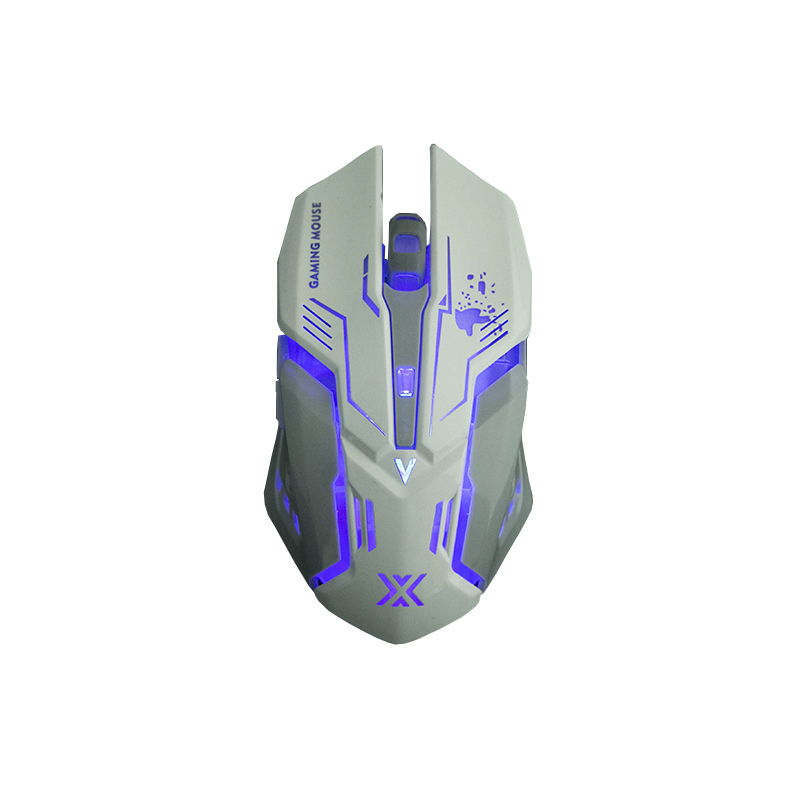 Mouse Usb Gamer 3200dpi 6d Soldado Luz Led 7 Cores Rgb Branco Gm-600