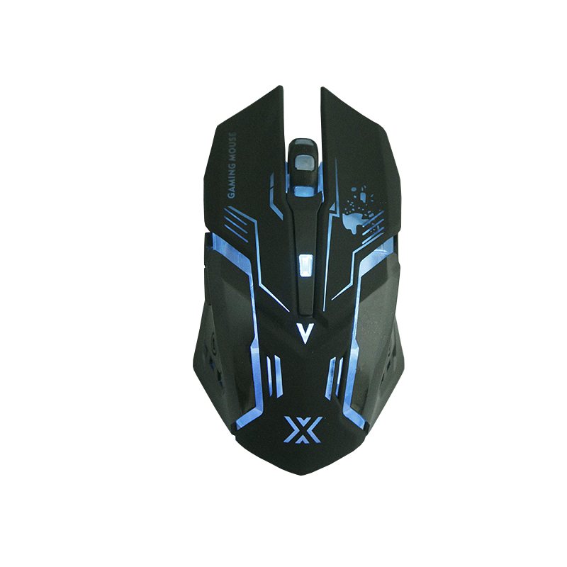 Mouse Usb Gamer 3200dpi 6d Soldado Luz Led 7 Cores Rgb  Preto Gm-600